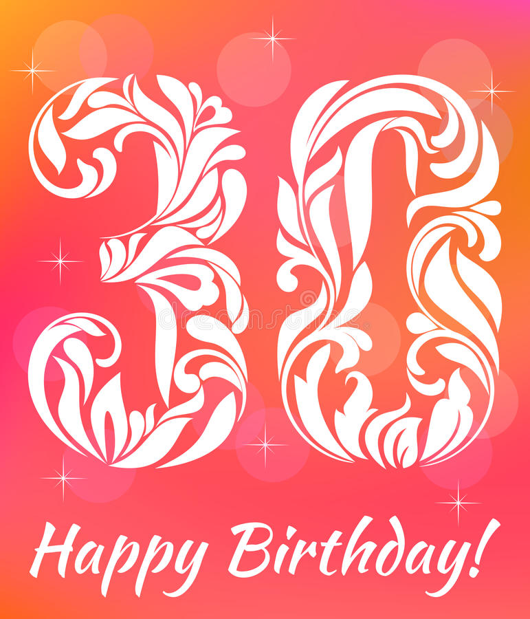 Bright Greeting card Template. Celebrating 30 years birthday. Decorative Font royalty free illustration