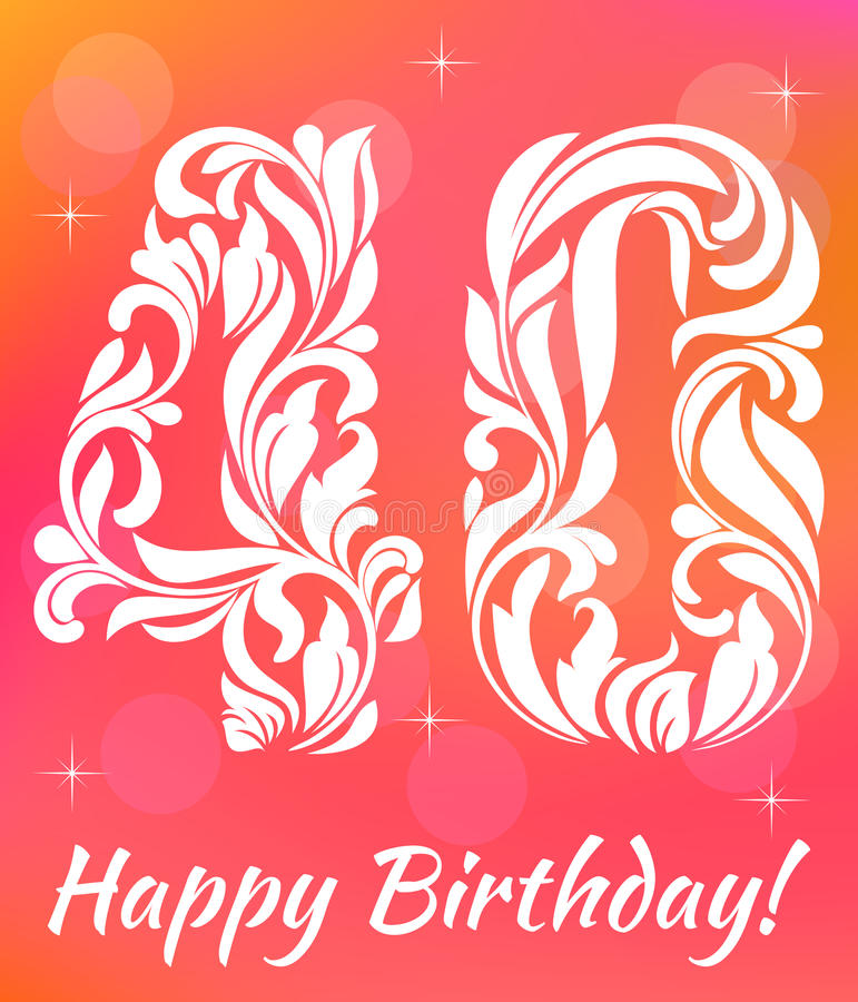 Bright Greeting card Template. Celebrating 40 years birthday. Decorative Font royalty free illustration