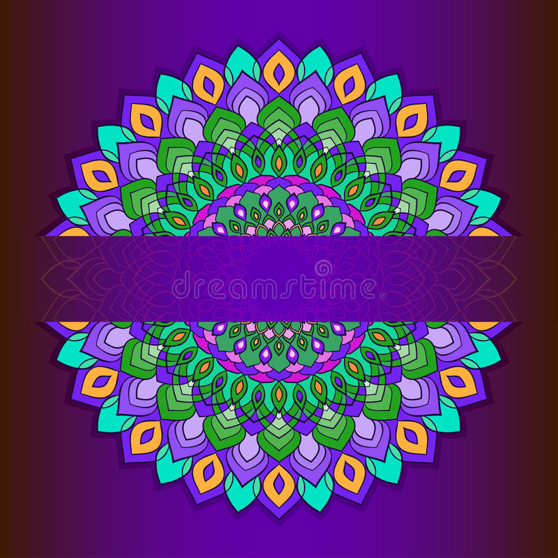 Bright hand-drawing ornamental abstract lace round with many details on deep purple background royalty free illustration
