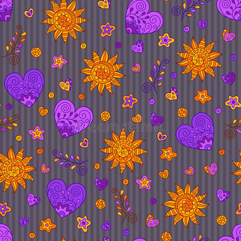 Bright Hand-drawn Seamless Pattern of Hearts and Suns Doodles on Striped Backdrop vector illustration