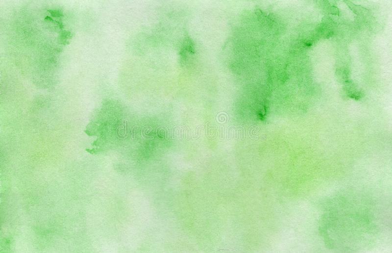 Bright hand painted green watercolor background royalty free stock photo