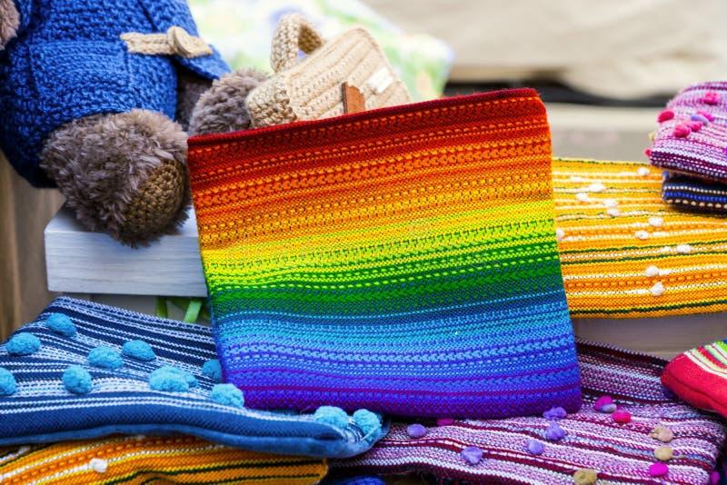 Handmade handbags. Bright handmade handbags for girls stock images