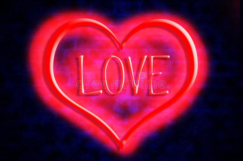 Bright heart and neon inscription Love on a brick wall background. Valentine`s Day, Mother`s Day background royalty free illustration
