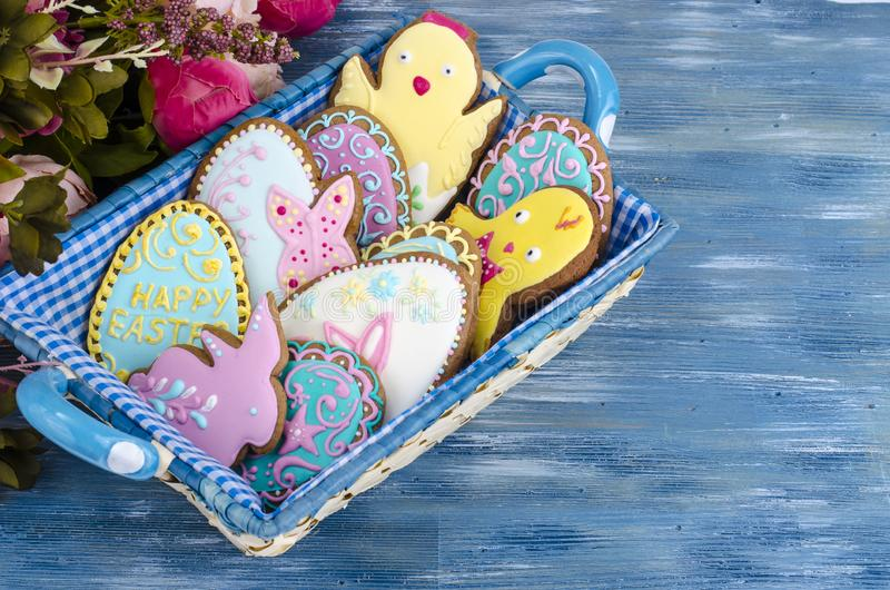Bright homemade gingerbread cookies, Easter gift royalty free stock photo