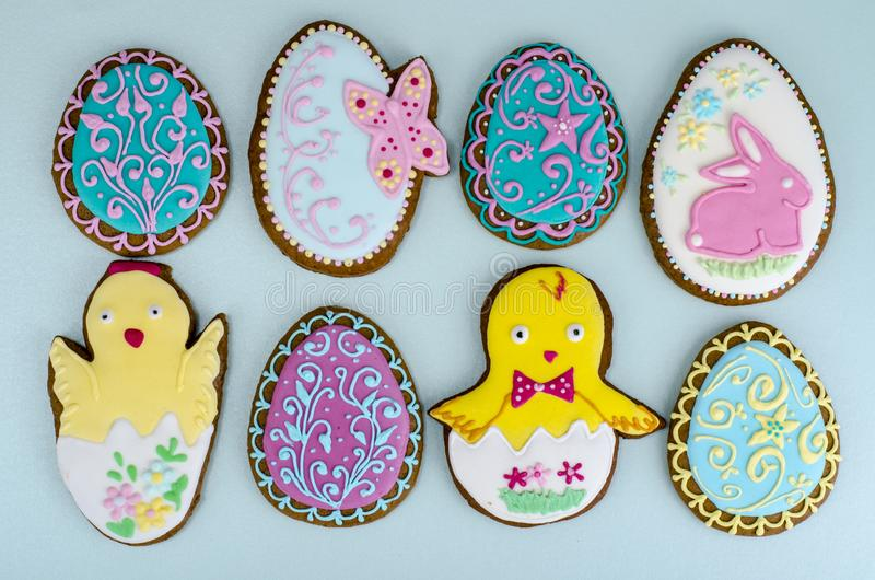 Bright homemade gingerbread cookies, Easter gift stock images