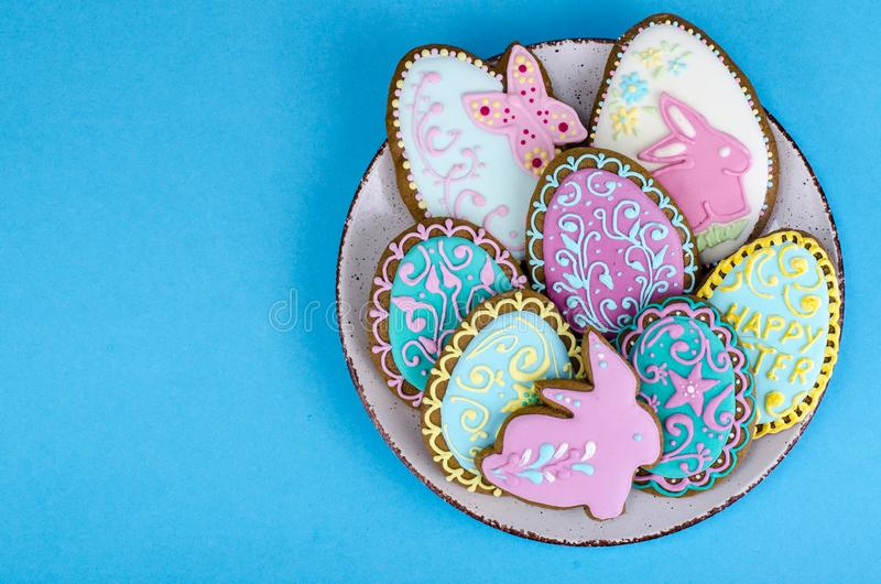 Bright homemade gingerbread cookies, Easter gift royalty free stock photos