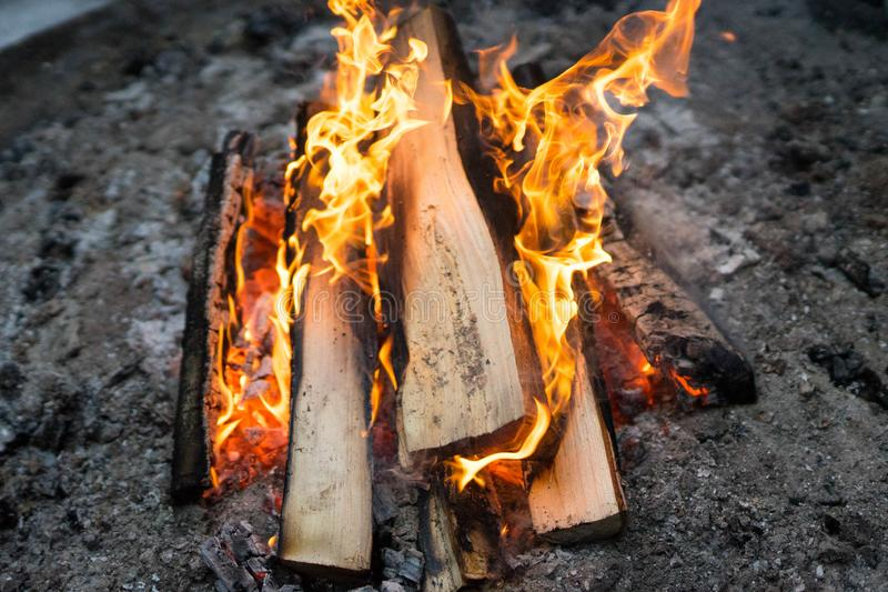Bright and hot bonfire royalty free stock image
