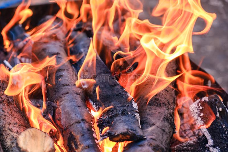 Bright hot coals and burning woods in bbq grill pit. Glowing and flaming charcoal, barbecue, red fire and ash. Weekend recreation background. Close-up, top stock image