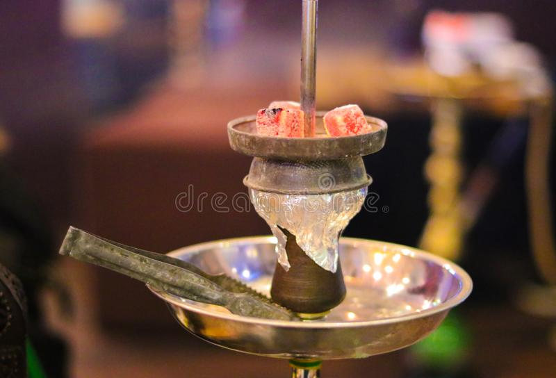 Part of the hookah. Hot coals. Bright hot embers. Part of the hookah stock image