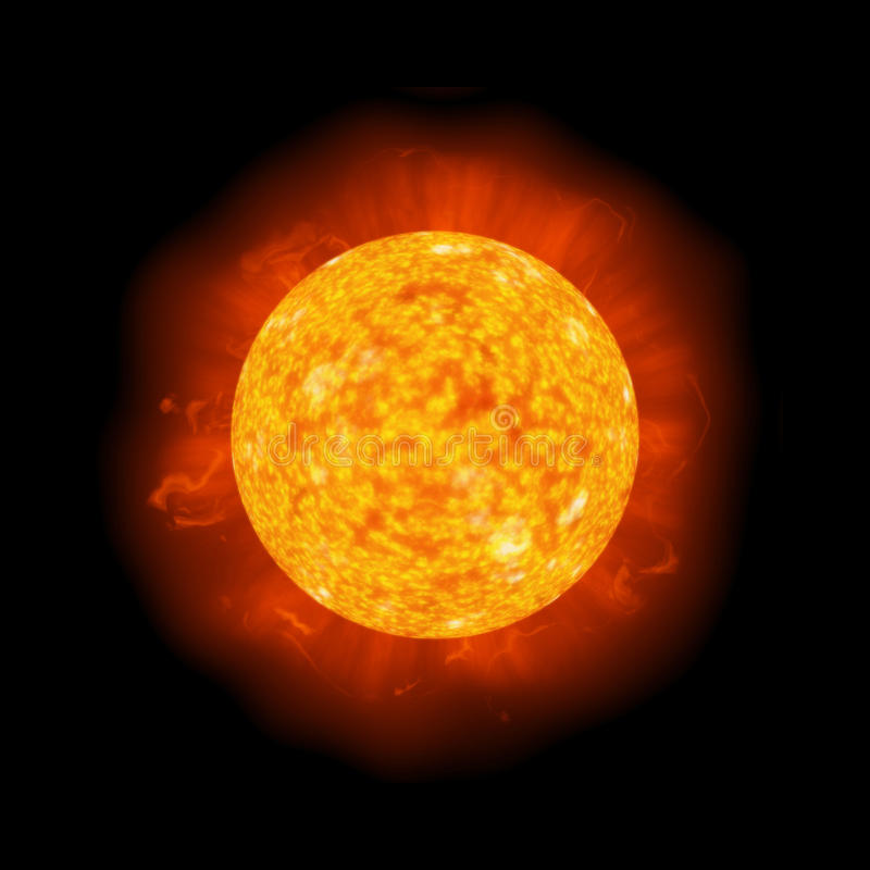 Download Bright hot sun on black stock vector. Image of space - 13841642