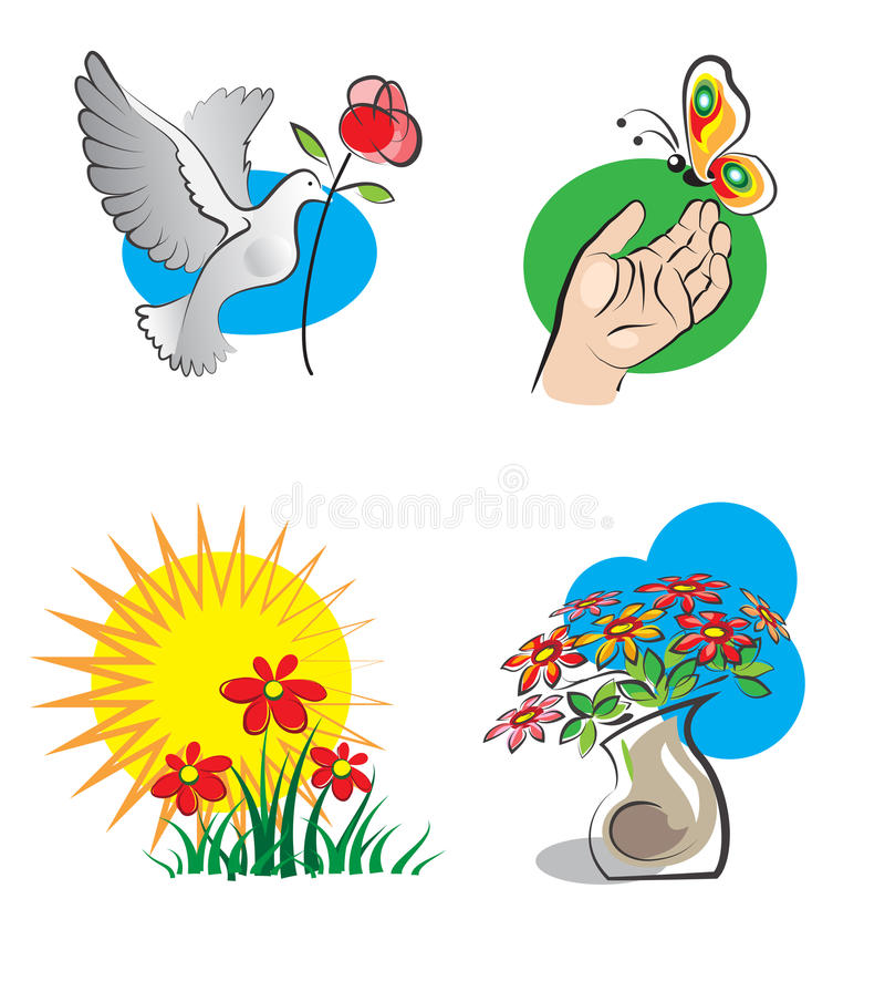 Download Bright icons with flowers stock vector. Illustration of icon - 21791454