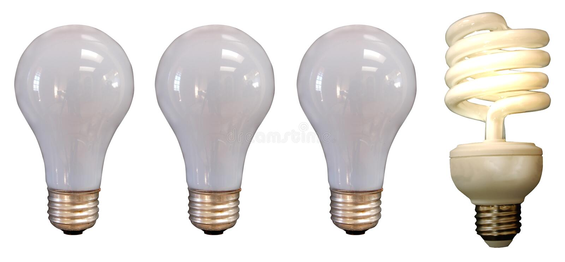 A Bright Idea. Three unlit incandescent light bulbs with a lit incandscent bulb stock photo
