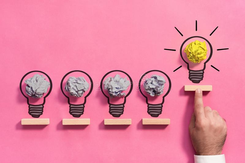 Bright Idea Concept with Bulb Illustration and Businessman stock image