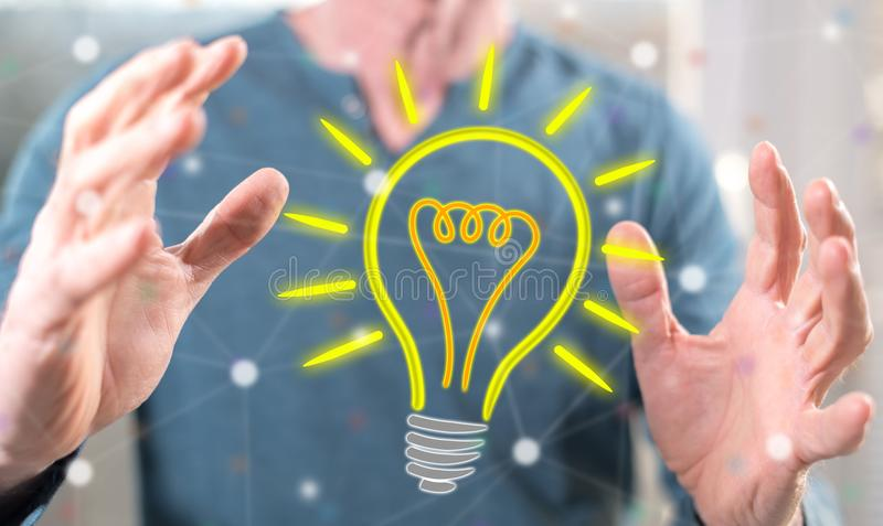 Concept of bright idea stock photography