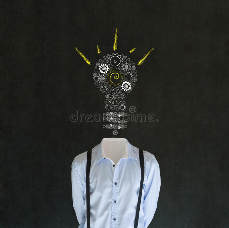 Bright idea man with chalk lightbulb head royalty free stock photo
