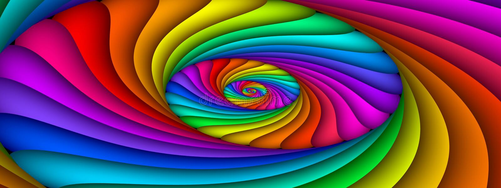 Bright Idea, panoramic. Panoramic skewed spiral of many colours stock illustration