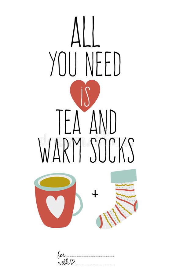 Bright illustration cup of tea and sock. Greeting stock illustration
