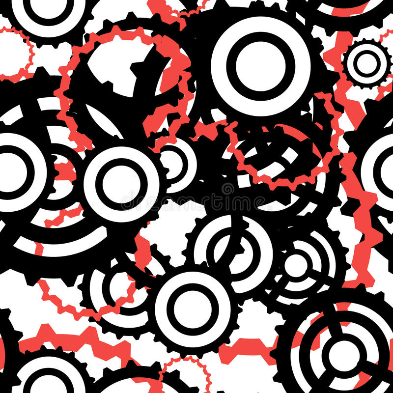 Bright industrial seamless pattern with colorful gears and cogs of different shape flat vector illustration stock illustration