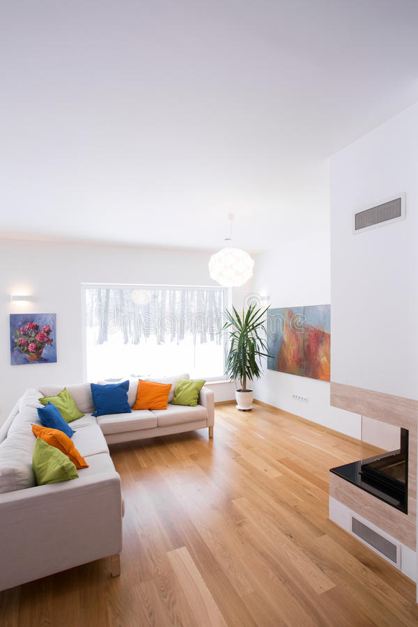 Bright interior with color details royalty free stock photos