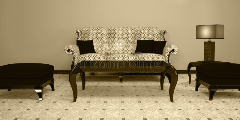 Bright interior design of brown living room vector illustration