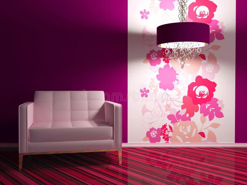 Bright interior design of modern living room vector illustration