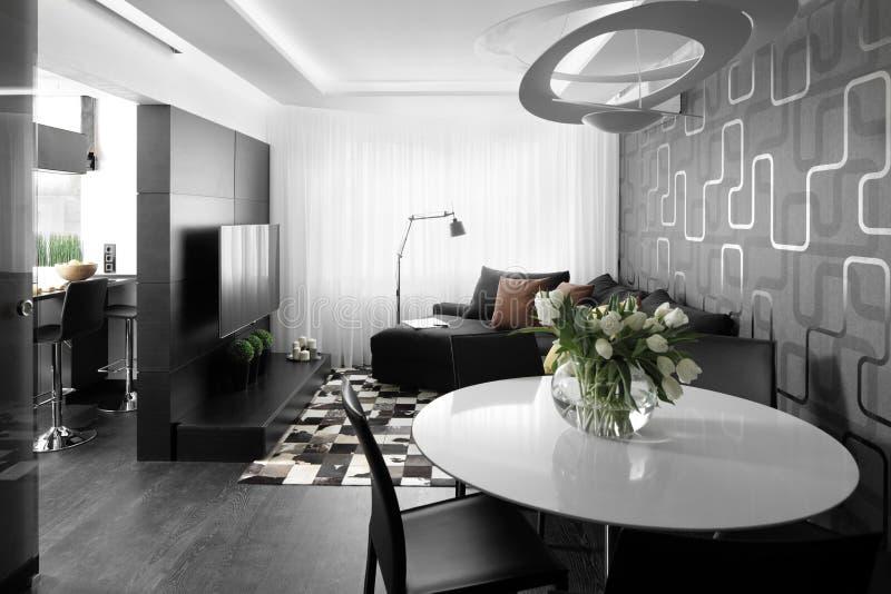 Bright interior of living room stock photos