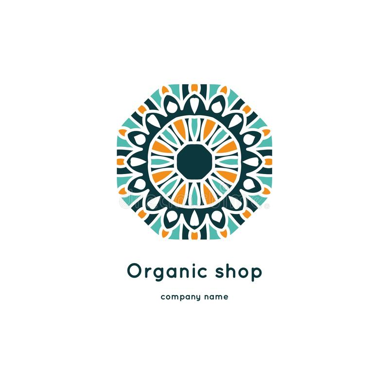 Bright and juicy beautiful circular logo for organic shop, eco product. Bright and juicy beautiful circular logo for organic shop, eco product, cosmetic royalty free illustration