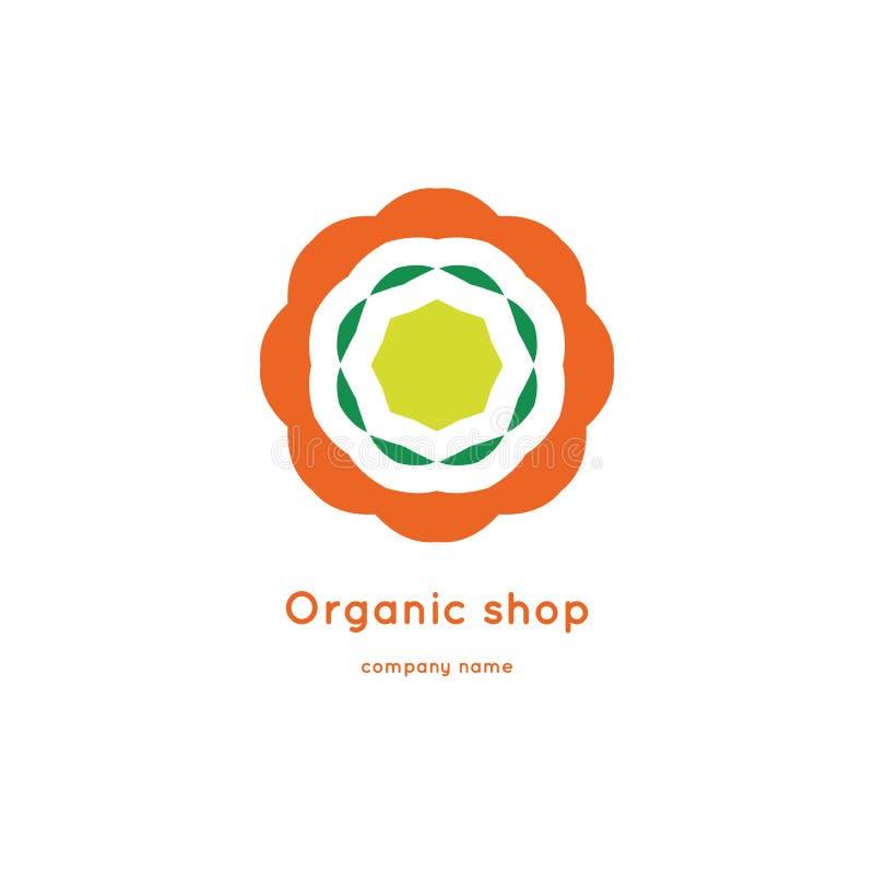 Bright and juicy beautiful circular logo for organic shop, eco product. Bright and juicy beautiful circular logo for organic shop, eco product, cosmetic stock illustration
