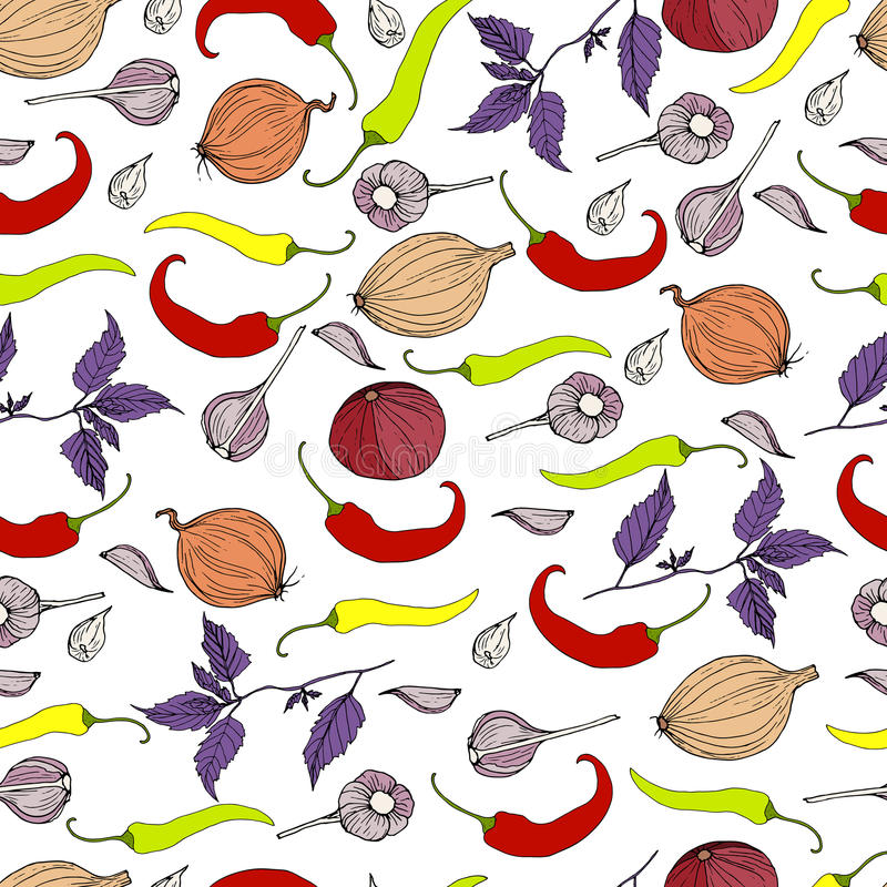 Bright, juicy, ripe chili peppers, garlic, onion and basil branch,vegetable seamless pettern,on a white background. Realistic vector illustration