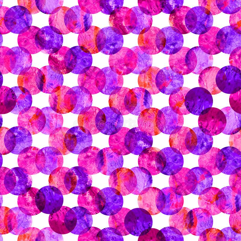 Bright kaleidoscope, montage polka dot abstract grunge colorful splashes texture watercolor seamless pattern design in pink. Purple colors palette on white royalty free illustration