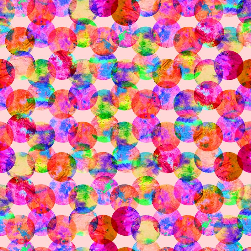 Bright kaleidoscope, montage polka dot abstract grunge colorful splashes texture watercolor seamless pattern design in pink. Green, purple colors palette on royalty free illustration