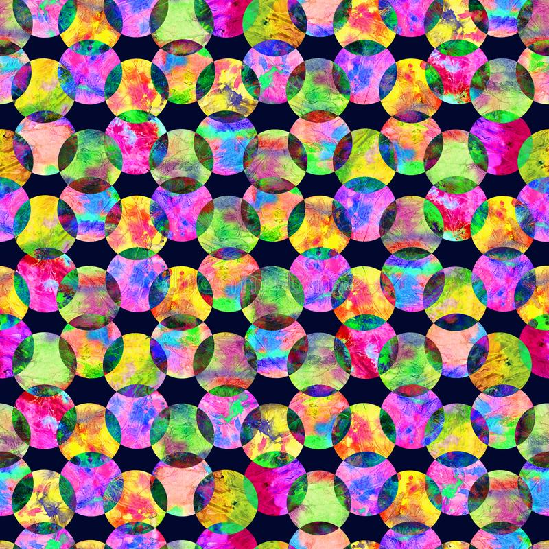 Bright kaleidoscope, montage polka dot abstract grunge colorful splashes texture watercolor seamless pattern in yellow royalty free stock images