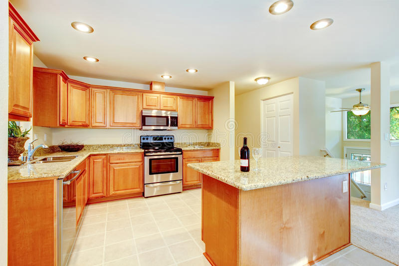 Light And Bright Kitchen Blends Classic With Contemporary: Bright Kitchen Room With Light Brown Cabinets And Steel