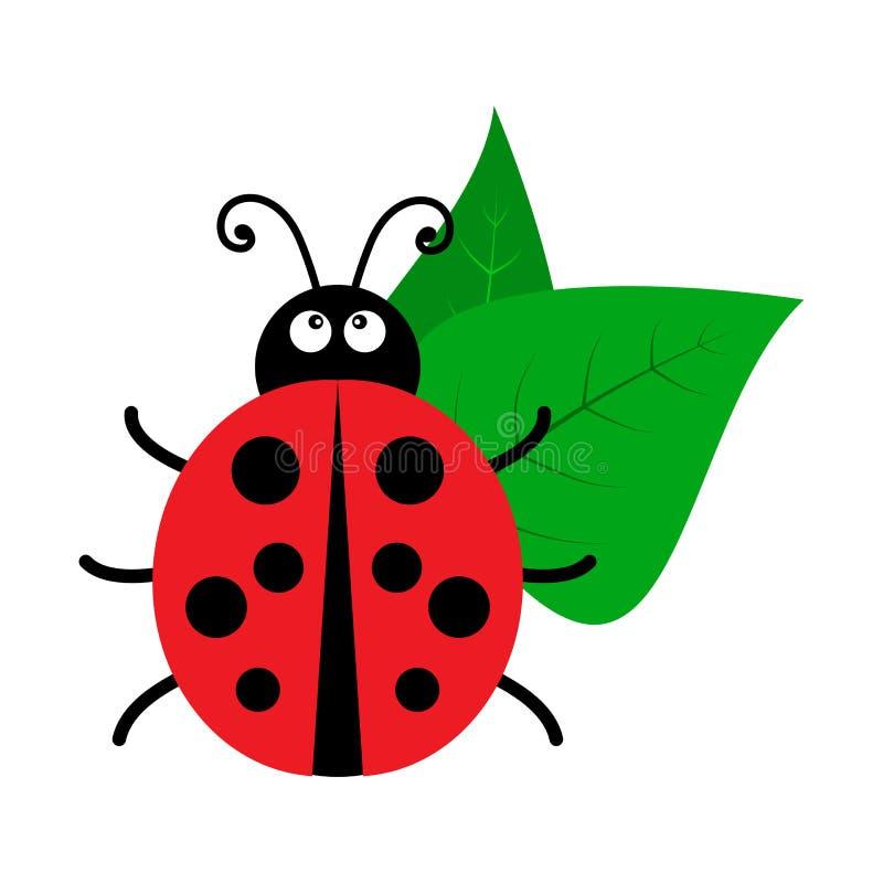 Bright ladybug with leaves icon isolated on white background. Vector. Illustration royalty free illustration