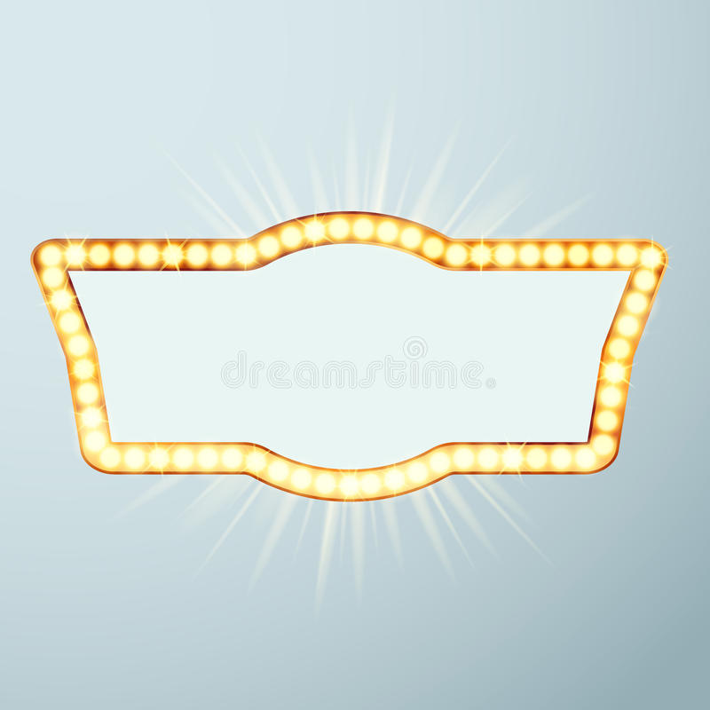Bright large glowing now showing cinema night neon sign. Night r. Etro circus announcement light frame. Vector illustration stock illustration