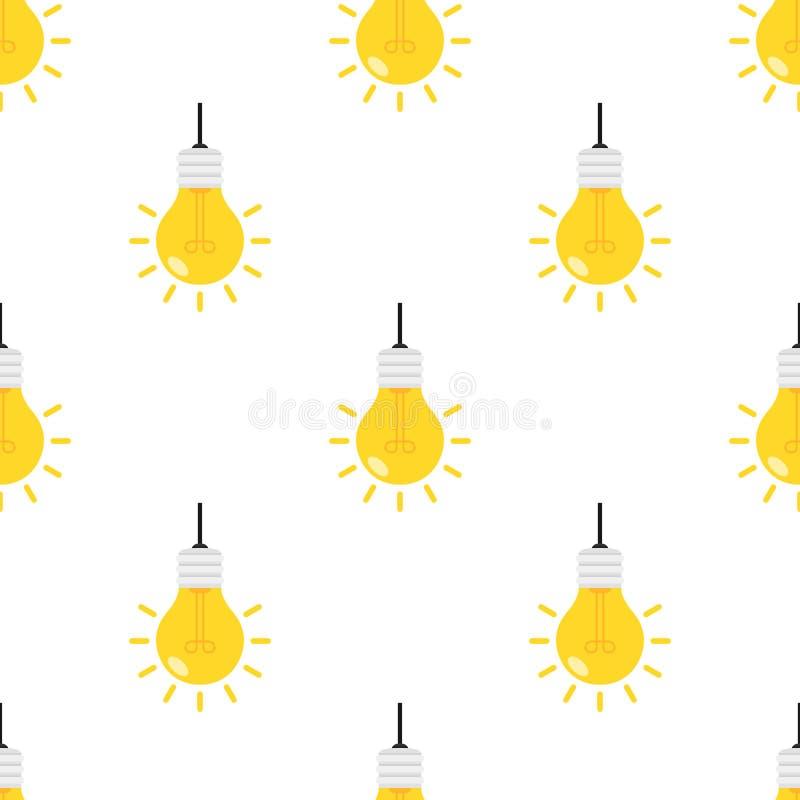 Bright Light Bulb Flat Icon Seamless Pattern stock illustration