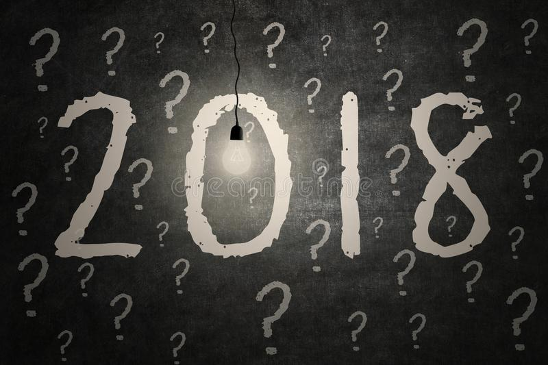 Bright light bulb illuminate the numbers 2018. Picture of bright light bulb illuminate numbers of 2018 with question marks on the blackboard royalty free stock image