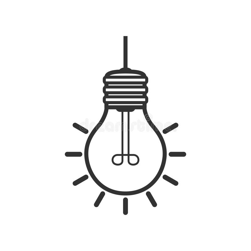 Bright Light Bulb Outline Flat Icon on White. A bright light bulb outline flat icon, isolated on white background. Eps file available stock illustration