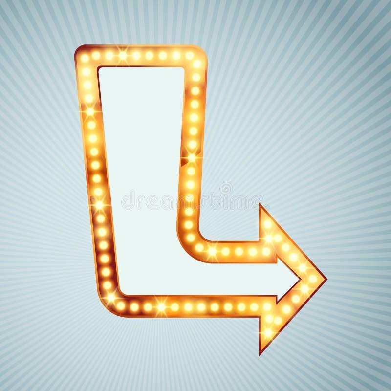 Bright light bulb pointing arrow sign royalty free illustration