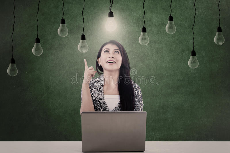 Download Bright Light Bulb And Woman Stock Image - Image: 28538453