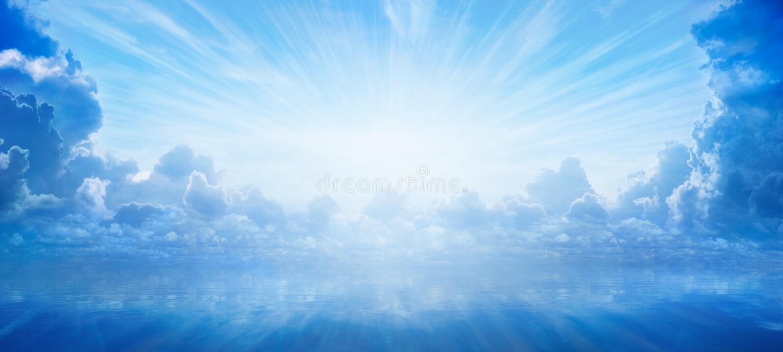 Bright light from heaven, light of hope and happyness from skies royalty free stock photography