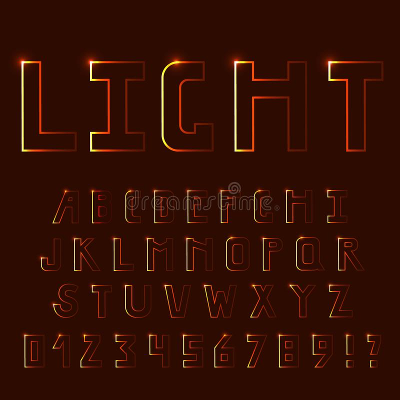 Bright light, neon font. Uppercase letters. royalty free stock image