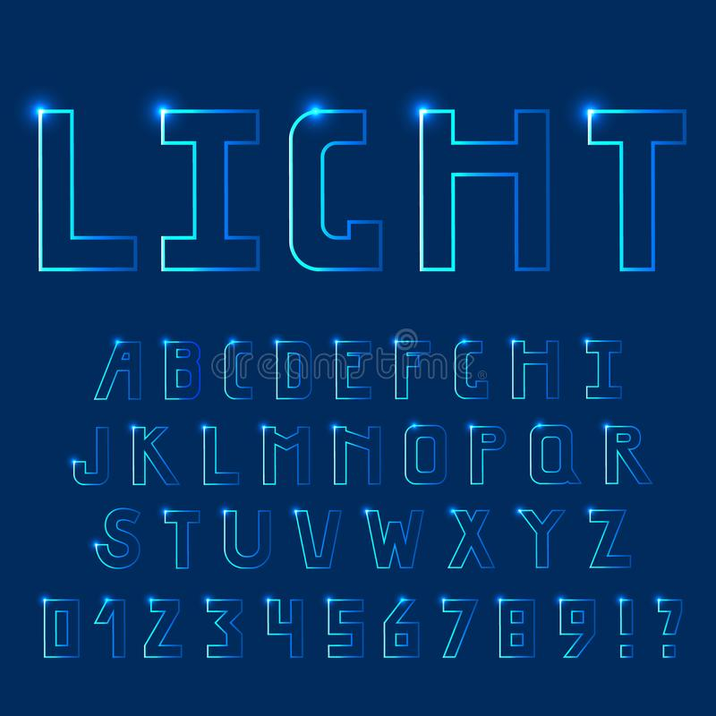 Bright light, neon font. Uppercase letters. royalty free stock images