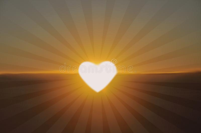 Bright light in the shape of a heart, coeur de lumière stock illustration