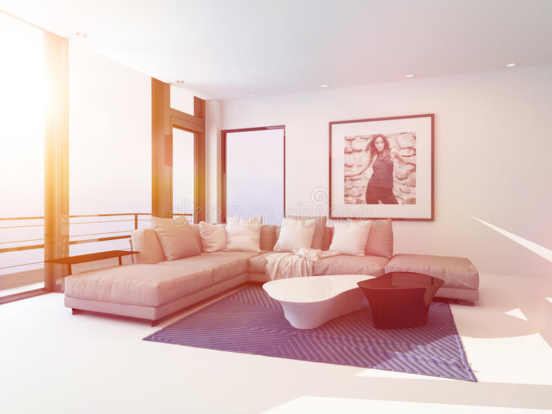 Bright light sitting room interior bathed in sun royalty free illustration