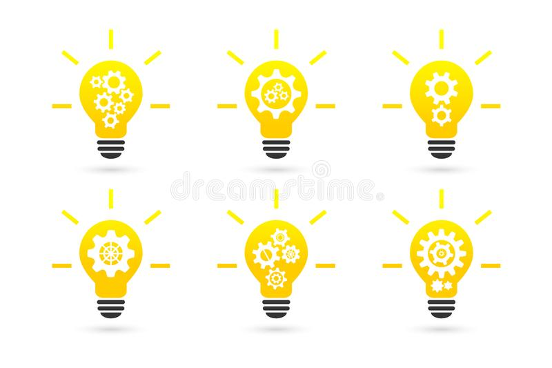 Bright lightbulb with gear wheels concept royalty free illustration