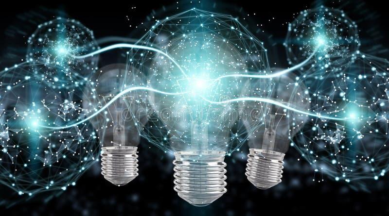Bright lightbulb illuminating other bulbs 3D rendering royalty free illustration