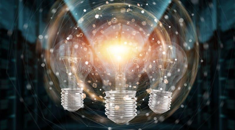 Bright lightbulb illuminating other bulbs 3D rendering stock illustration