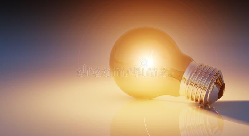 Bright lightbulb on shiny floor 3D rendering royalty free illustration
