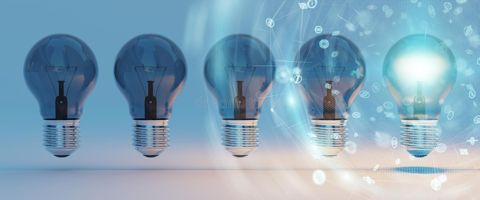 Bright lightbulbs and connections lined up 3D rendering stock illustration